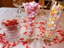 red and white table decorations. Interior. Colorful Candies On The Glass Plus White Red Table Cloth And Decorations T
