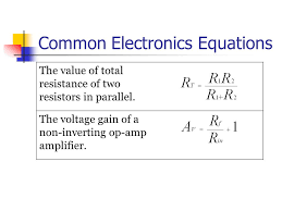 common electronics equations the value of total resistance of two resistors in parallel