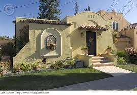 one story exterior house design. Front Exterior One Story Spanish Style House With Potted Plants [Ldk1001044] \u003e Stock Photos Design S
