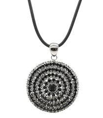 large oversized hematite black swarovski crystals circle necklace pendant