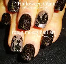 Black Cat Nails and Witch in a moon nail art tutorial design ...