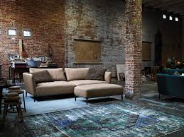 brick living room furniture. comfortable rolf benz sofa in black and brown rustic living room design exposed brick wall furniture c