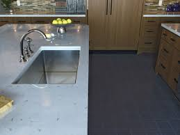 Gray Tile Floor Kitchen Kitchen Stainless Steel Faucet With Undermount Sink Also