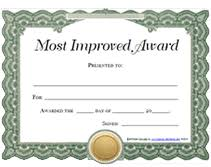 Free Printable Most Improved Awards Certificates Templates