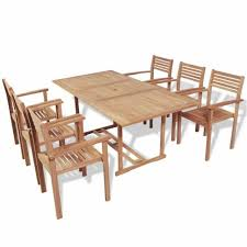 vidaxl teak outdoor dining set 7 piece garden furniture table stackable chairs for