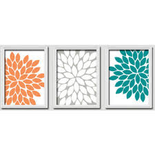 teal and gray wall decor. wall art canvas artwork orange grey teal turquoise flower burst dahlia bloom set of 3 trio and gray decor r