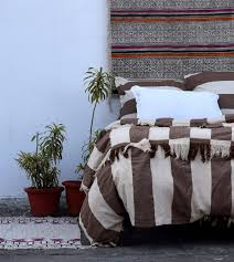 vintage style embroidery lace fringes 100 cotton brown and off white strips earthy color king size queen size twin size duvet cover