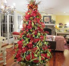 ... Surprising Christmas Tree Decorating Ideas With Mesh Ribbon Comely Trees  Beautiful Deco ...