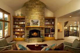 Living Room, Decorating Ideas Natural Stone Fireplace Bookshelving Wooden  Mantleshelf Gray Wall Paint Ceramic Flooring