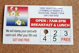 Discount Punch Card Yolk To Yolk Punch Card Sixth Punch Gets You 8 Discount Prize