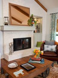 cozy living room with white brick fireplace