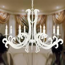 Kronleuchter Florentiner Stil Lasercut 8 Flammig Weiß