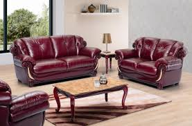 Stylish Sofa Sets For Living Room Burgundy Leather Stylish Living Room W Cherry Wooden Trims