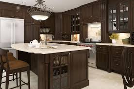 kitchen with glass front cabinets