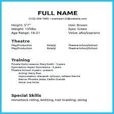 Theatre Acting Sample Resume 9 Musical Examples Theater 11 Special