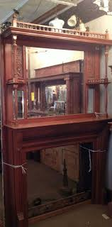 Antique Cherry Fireplace Mantel with Mirror and Fretwork Architectural  Salvage