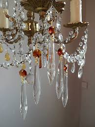 set of 5 amber colour crystal crystal glass icicle chandelier drops spare part
