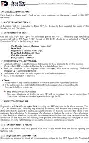 request for proposal rfp of continuous information system audit 11 submission of bids one 1 hard copy duly signed by authorized person and