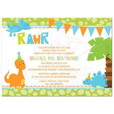 Dinosaur Birthday Invitation Birthday Party Invitation Boy Dinosaur In Orange Blue And Green