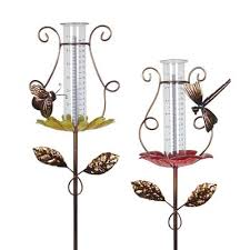 metal rain gauge garden stakes with erfly and dragonfly