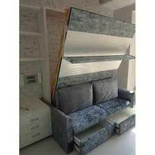 grey wall bed with sofa storage rs