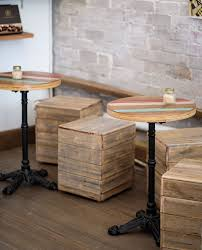 recycled wooden furniture. Timber Boxes And Small Round Cafe Tables Recycled Wooden Furniture U