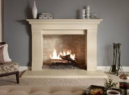 interior cream tile fireplace base ideas with cream fireplace legs connected by grey wall theme