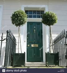 traditional white townhouse with clipped bay trees in black planters on either side of black front