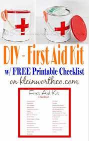 First Aid Kit And Printable Checklist - Kleinworth & Co