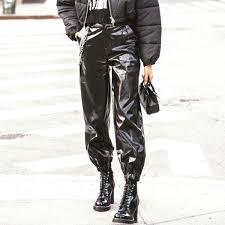 senarai harga 2019 women faux leather joggers pu leather cargo pants front slant pocket high waist black leather pants loose with chain terkini di malaysia
