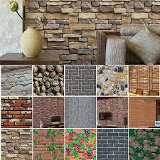 3d wall paper brick stone rustic effect