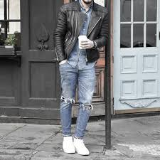 guys fashion ideas how to wear a leather jacket leather jacket outfits styles ripped denim jeans