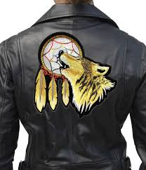 howling wolf indian dreamcatcher embroidered biker patch quality large patriotic biker patch