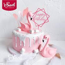 Pink Sitting Flamingo Cake Decorations Acrylic Square Round Cake