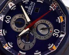 corum wristwatches corum admirals cup tides 48 titanium blue dial mens watch box papers