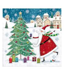 Christmas Card Picture Santa And Tree Christmas Card Pack Of 10 Cancer Research Uk