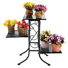 Flower Display Stand For Sale 100 Tier Black Metal Scrollwork Design Planter Display Stand Plant 64
