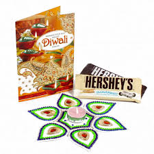 hersheys treat with artificial rangoli and diwali card