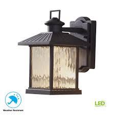 Exterior Photocell Light Fixtures Hampton Bay Lumsden 7 In Black Outdoor Integrated Led Wall