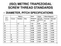 Iso Metric Coarse Thread Chart Metric Super Fine Thread