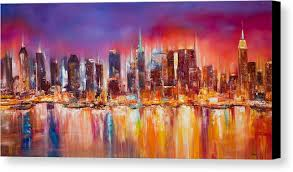 new york city canvas. Wonderful Canvas Nyc Paintings Canvas Print Featuring The Painting Vibrant New York City  Skyline By Manit In