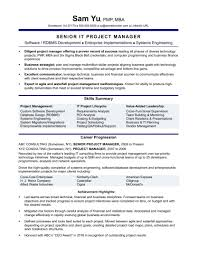 Project Manager Resumes Examples Experienced It Project Manager Resume Sample Monster Com Exa Sevte 5