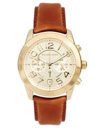 michael kors tan leather strap watch
