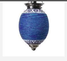 blue mosaic glass ceiling pendant lamp