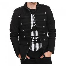 mens gothic military jacket band steampunk vintage goth style army jacket handmade pea coat