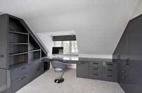 grey home office. grey high gloss fitted home office