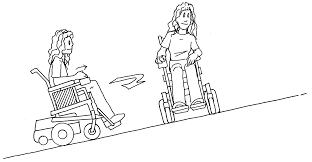 cartoon a person on a wheelchair making a turn on a ramp