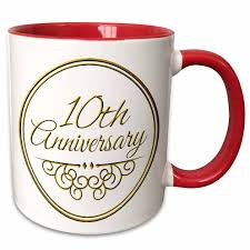 3drose 10th anniversary gift gold text for celebrating wedding anniversaries 10 tenth ten years together two tone red mug 11 ounce walmart