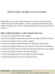 Vendor Management Resume Sample