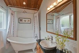 vancouver bathtub shower combo bathroom transitional with clawfoot tub chrome vanity lights granite counter freestanding